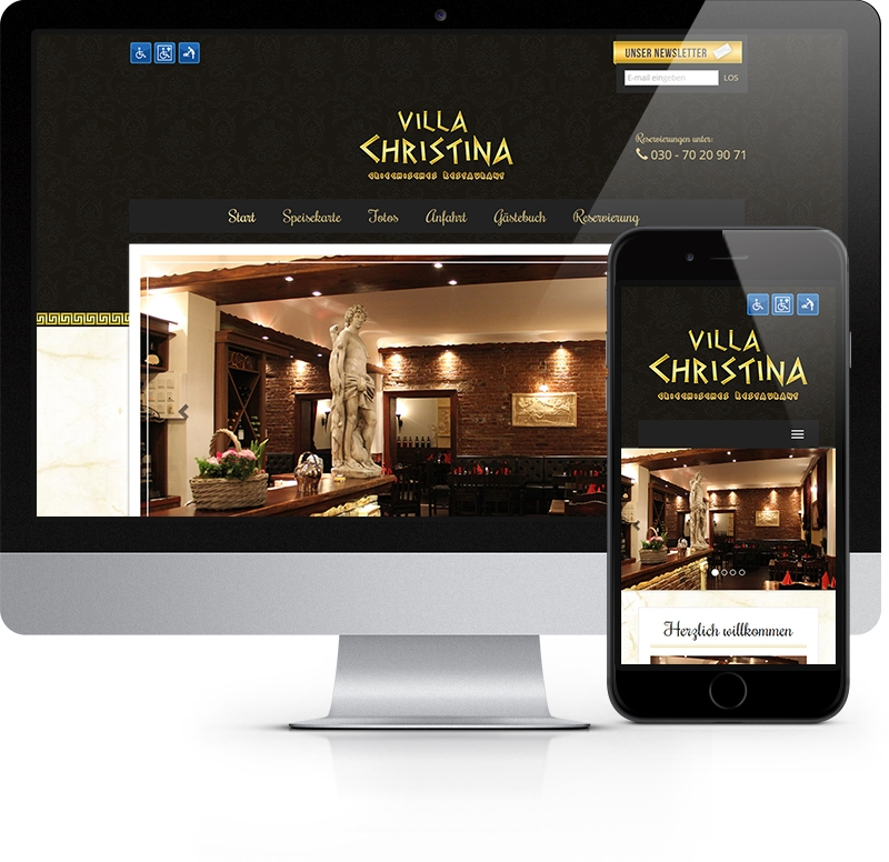 Webdesign Referenz Restaurant Villa Christina