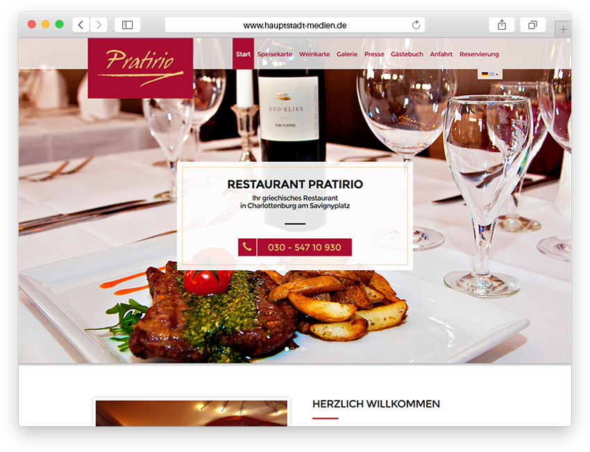 Webdesign Berlin - Homepage für Restaurant